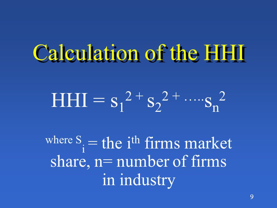 where Si = the ith firms market share, n= number of firms in industry