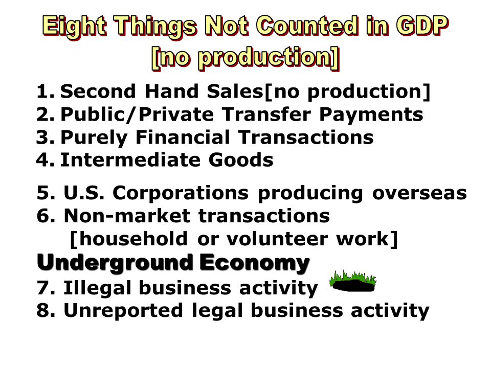Eight Things Not Counted in GDP