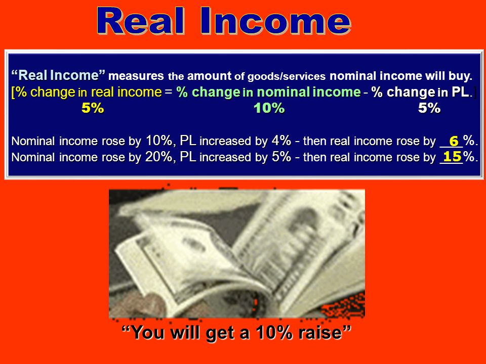Real Income You will get a 10% raise