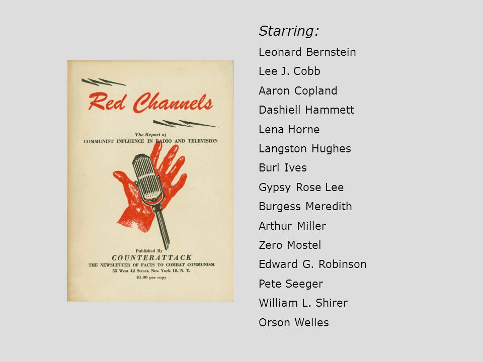 Starring: Leonard Bernstein Lee J. Cobb Aaron Copland Dashiell Hammett