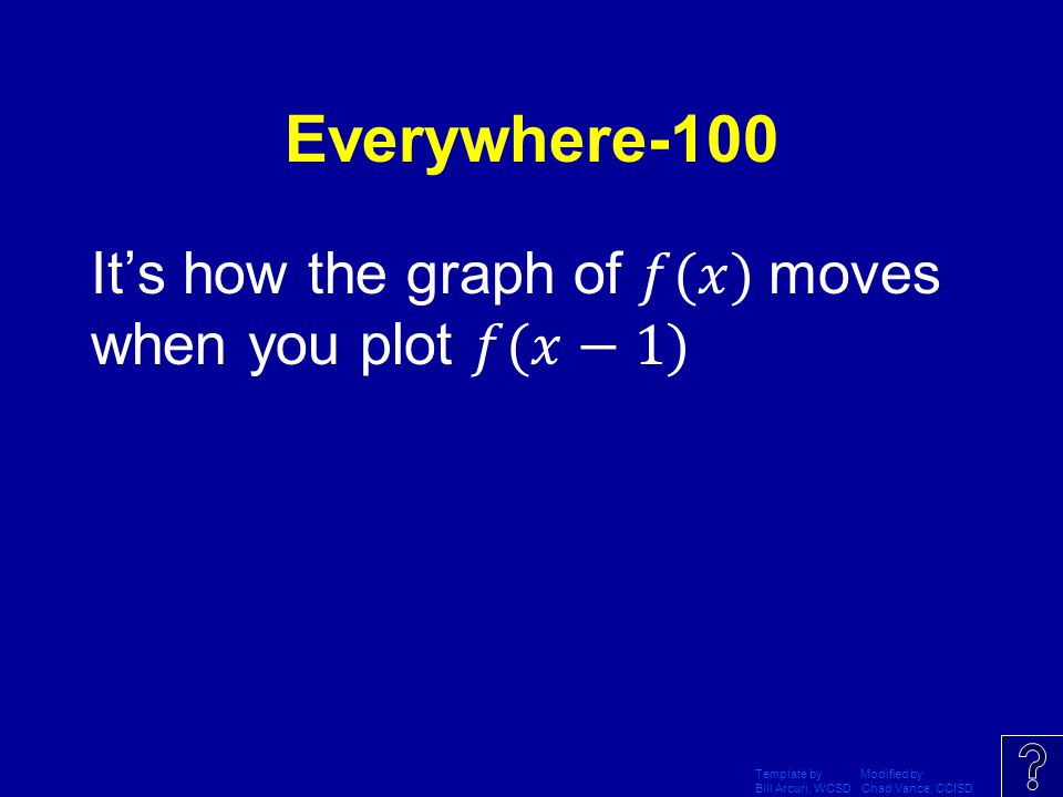 Everywhere-100 It's how the graph of 𝑓(𝑥) moves when you plot 𝑓(𝑥−1)