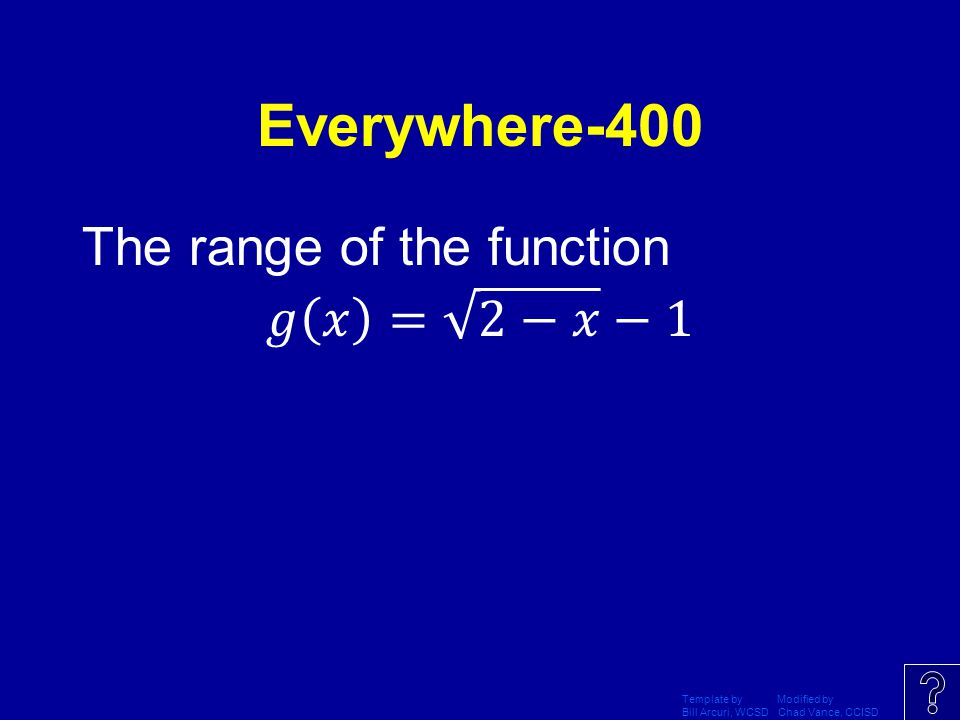 Everywhere-400 The range of the function 𝑔 𝑥 = 2−𝑥 −1