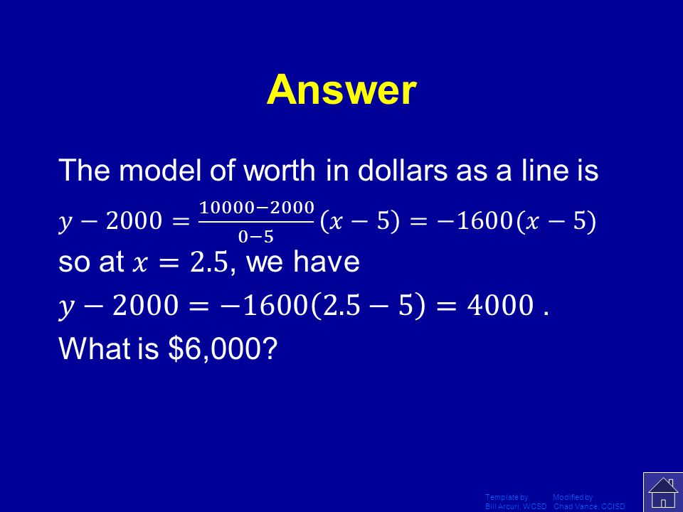 Answer The model of worth in dollars as a line is