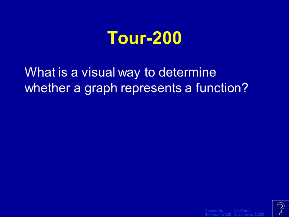 Tour-200 What is a visual way to determine whether a graph represents a function Template by Modified by.