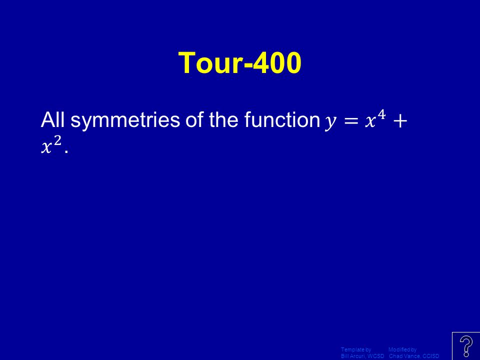 Tour-400 All symmetries of the function 𝑦= 𝑥 4 + 𝑥 2 .