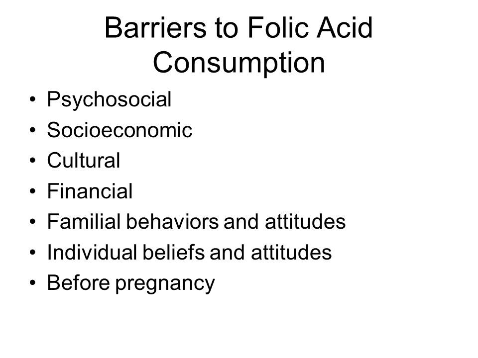 Barriers to Folic Acid Consumption