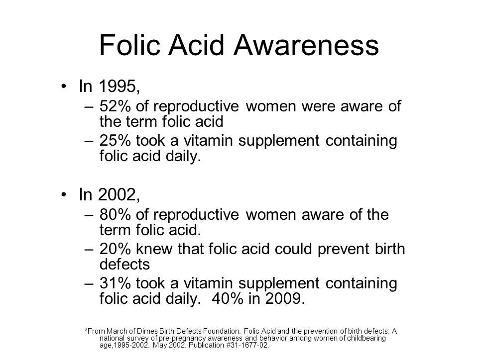 Folic Acid Awareness In 1995, In 2002,