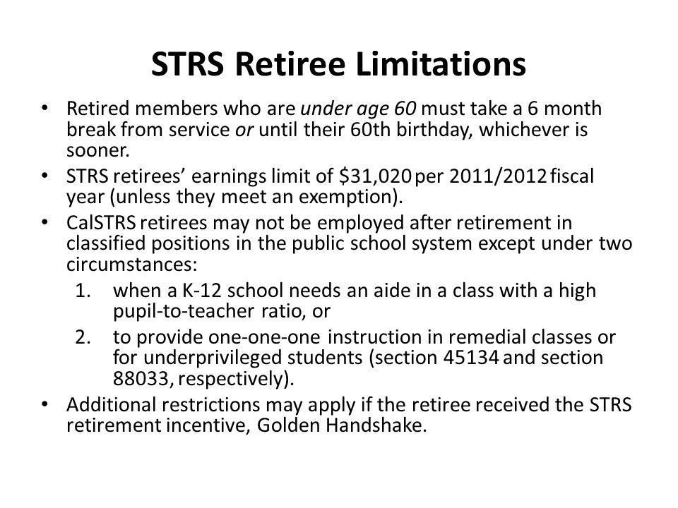 STRS Retiree Limitations