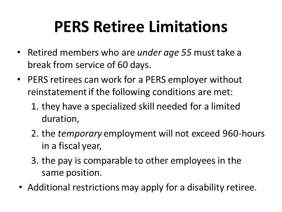 PERS Retiree Limitations