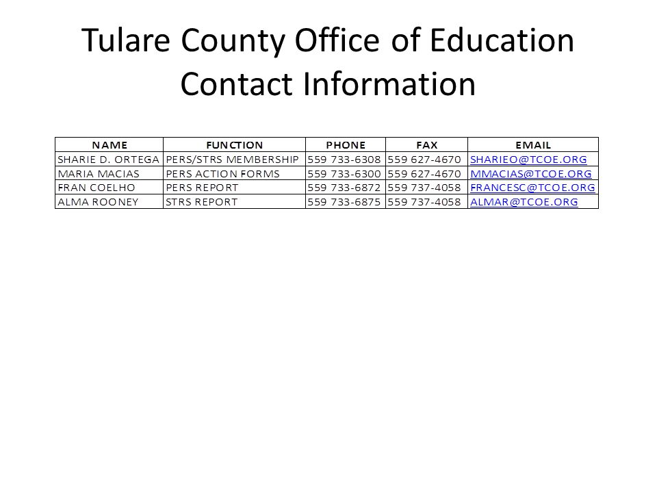 Tulare County Office of Education Contact Information