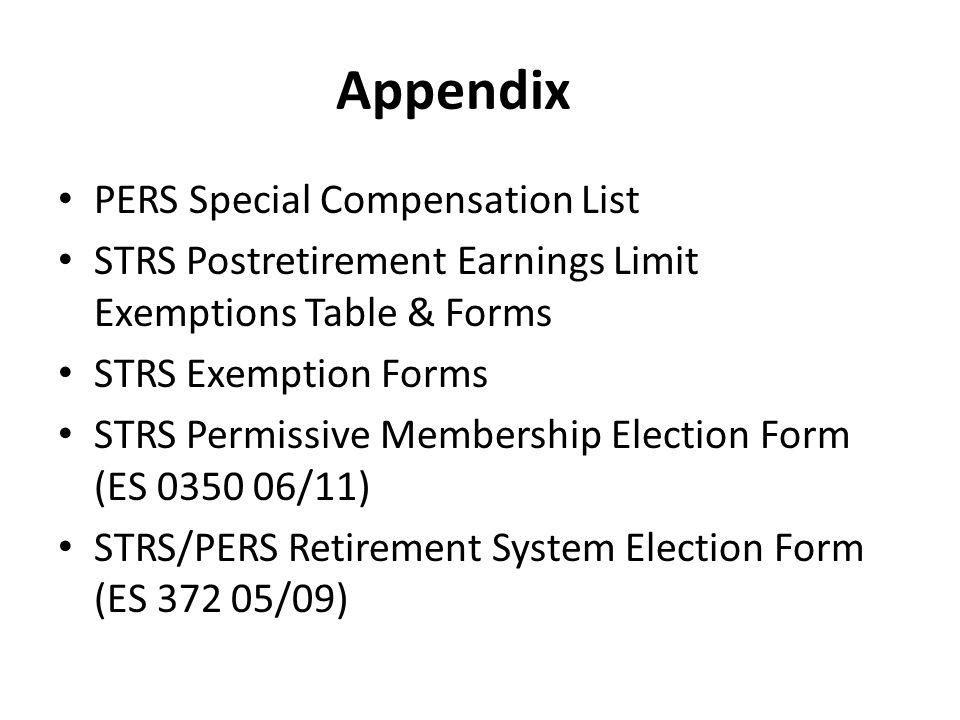 Appendix PERS Special Compensation List