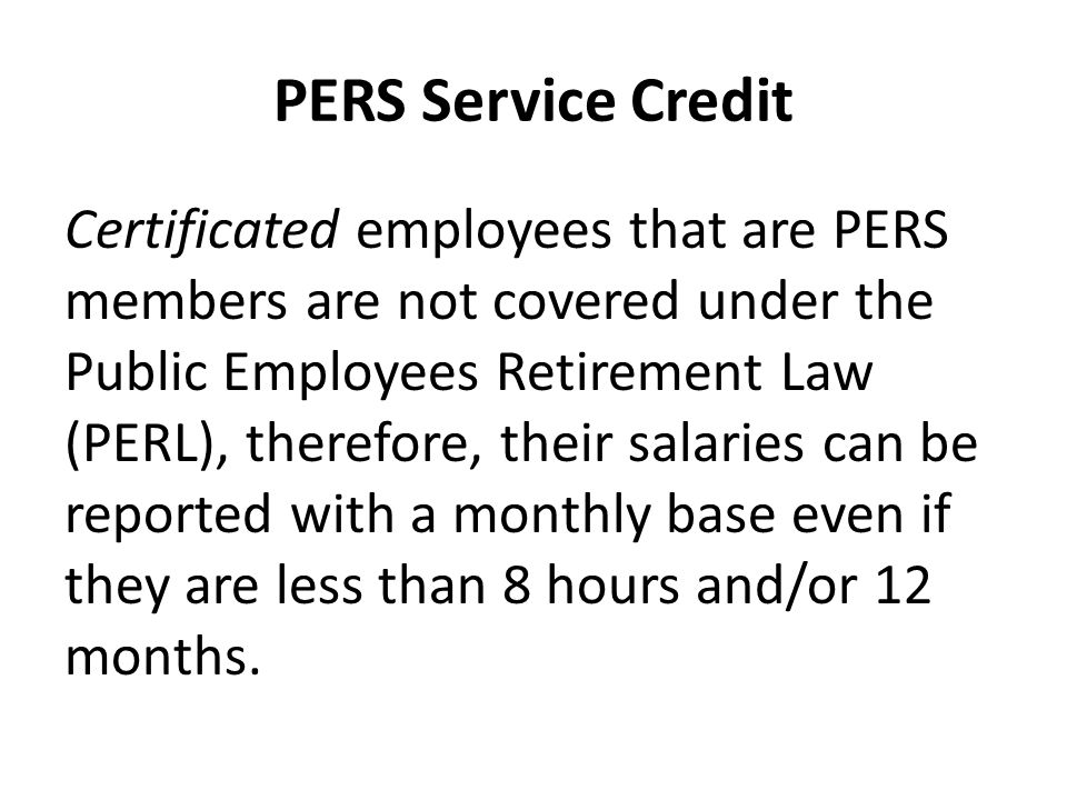 PERS Service Credit