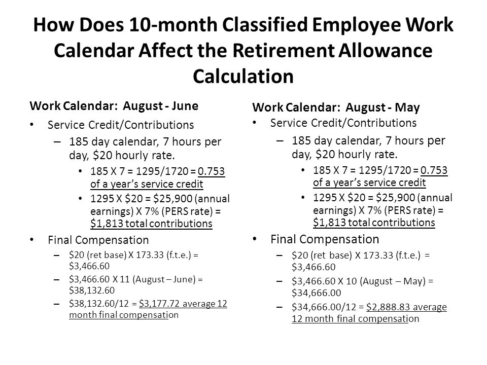 How Does 10-month Classified Employee Work Calendar Affect the Retirement Allowance Calculation