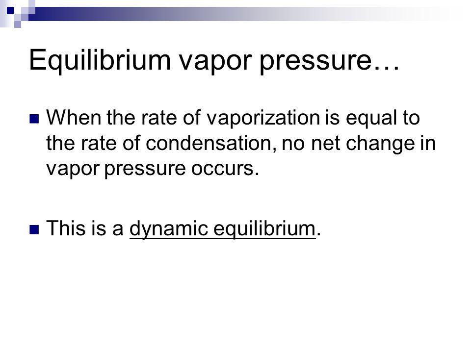 Equilibrium vapor pressure…