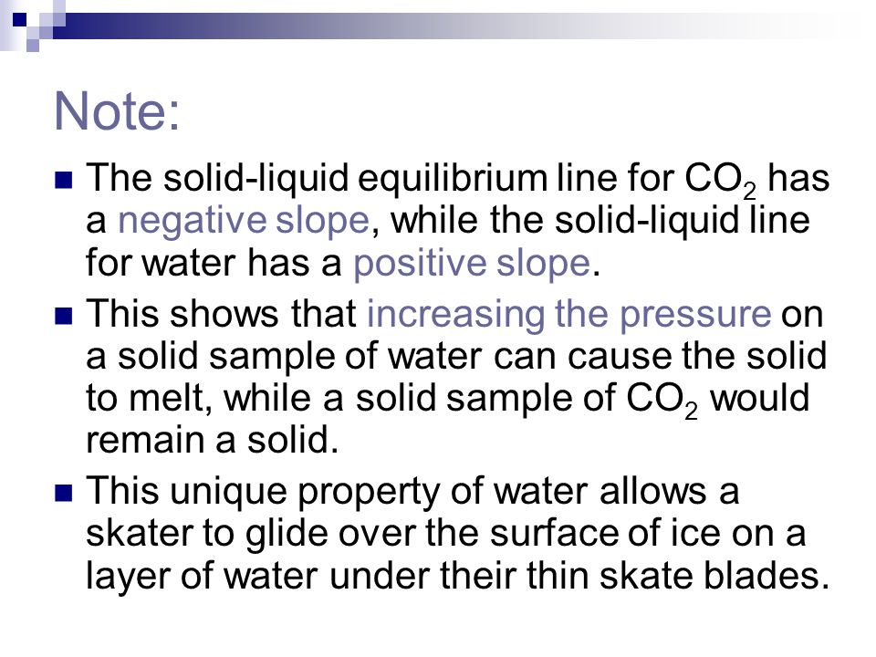 Note: The solid-liquid equilibrium line for CO2 has a negative slope, while the solid-liquid line for water has a positive slope.