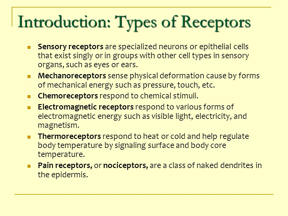 Introduction: Types of Receptors