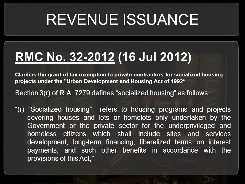 REVENUE ISSUANCE RMC No (16 Jul 2012)