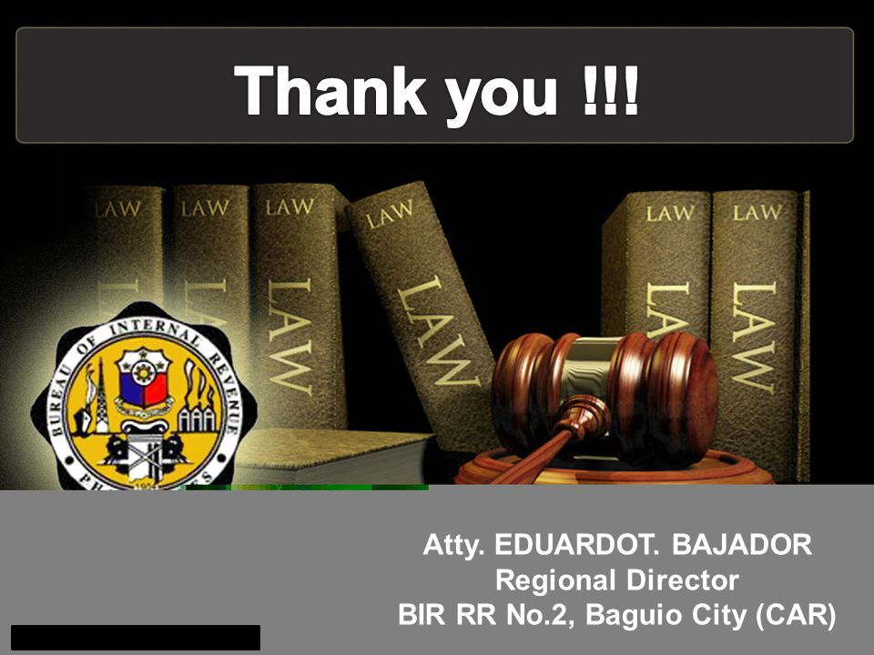 Regional Director BIR RR No.2, Baguio City (CAR)