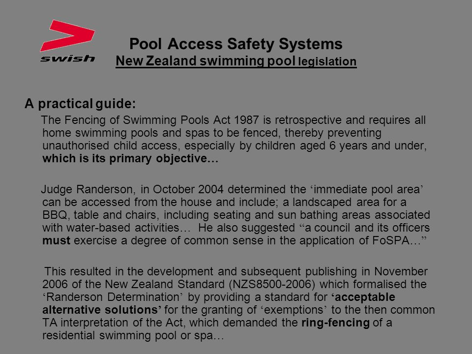 Pool Access Safety Systems New Zealand swimming pool legislation