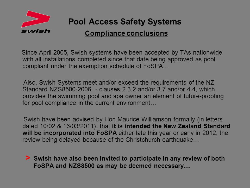 Pool Access Safety Systems Compliance conclusions