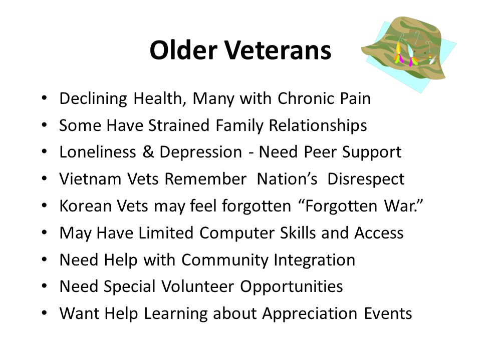 Older Veterans Declining Health, Many with Chronic Pain