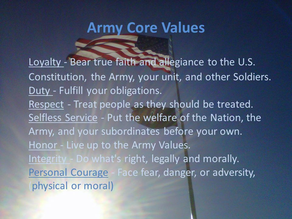 army values integrity Free essay: the army values are the foundation for good soldiering in the united states army soldiers and leaders of the army live by seven core values.