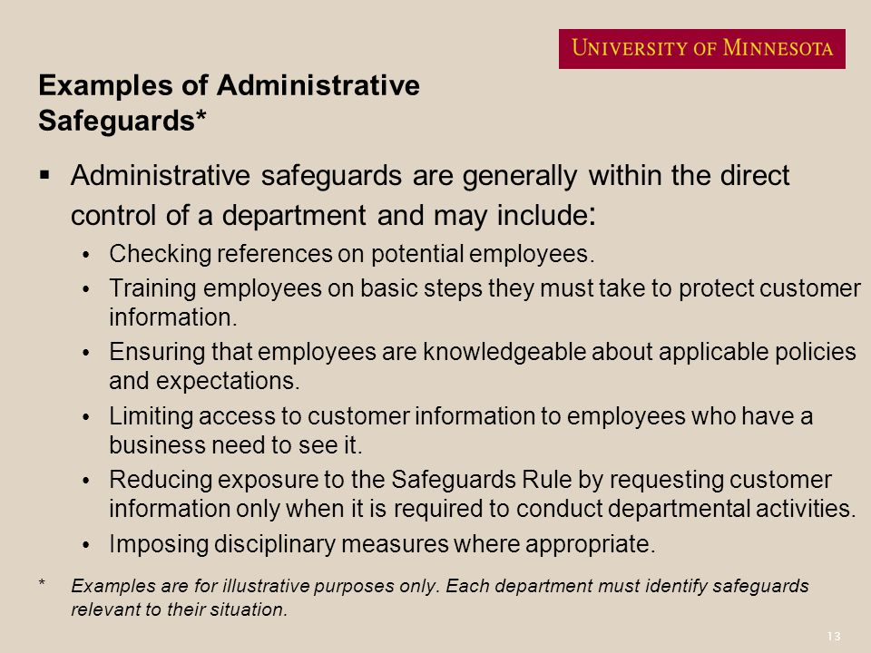 Examples of Administrative Safeguards*