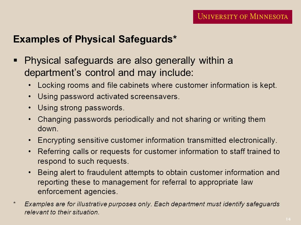 Examples of Physical Safeguards*