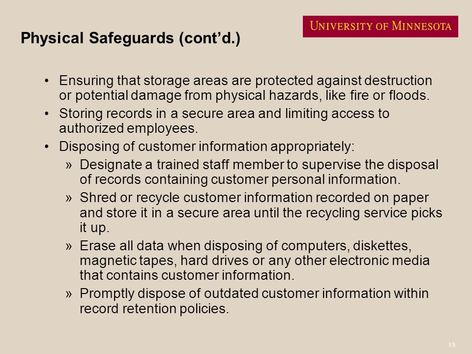 Physical Safeguards (cont'd.)