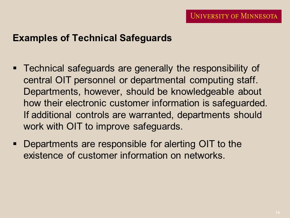 Examples of Technical Safeguards
