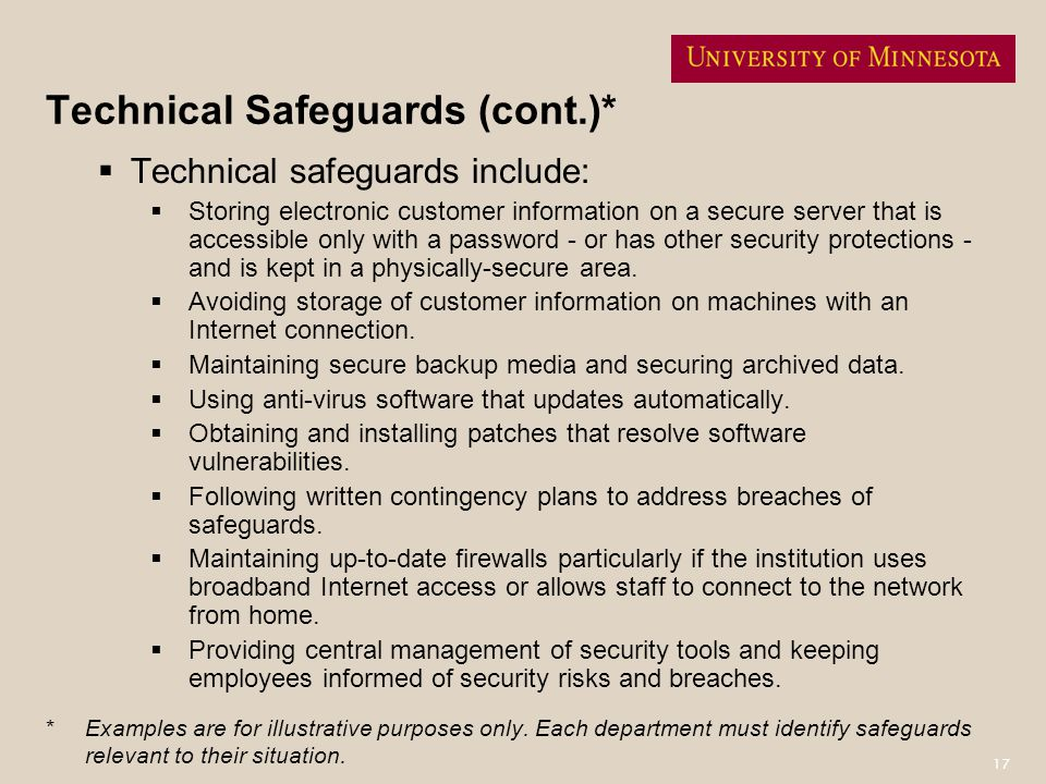 Technical Safeguards (cont.)*