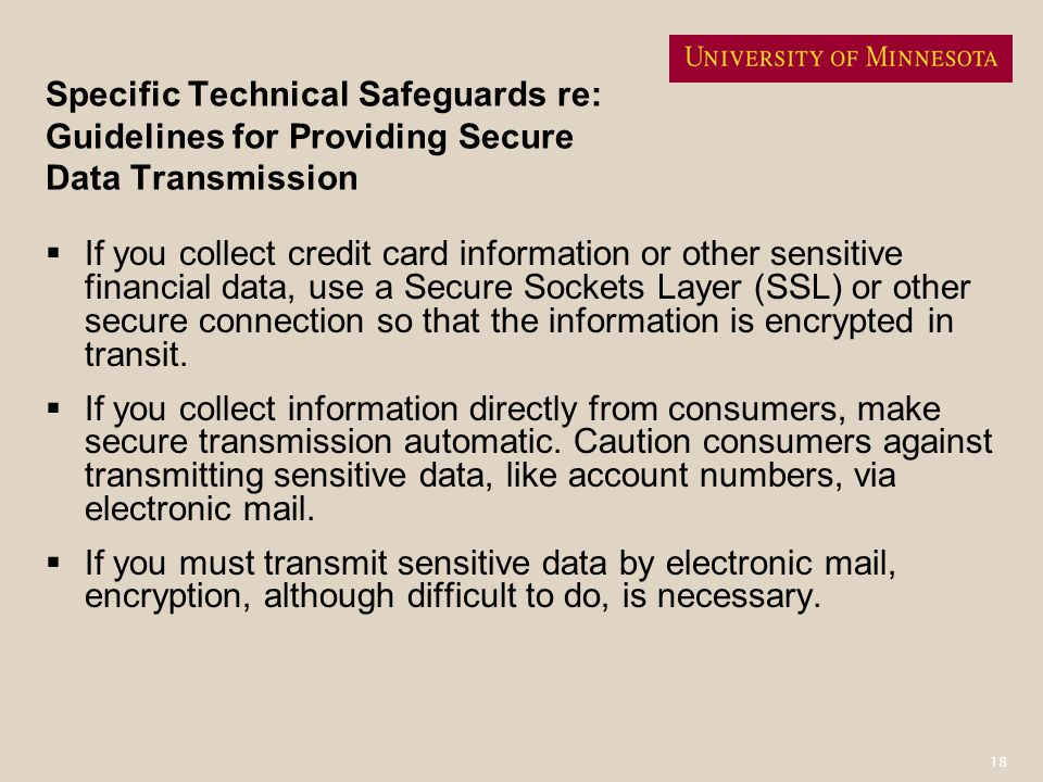 Specific Technical Safeguards re: Guidelines for Providing Secure Data Transmission