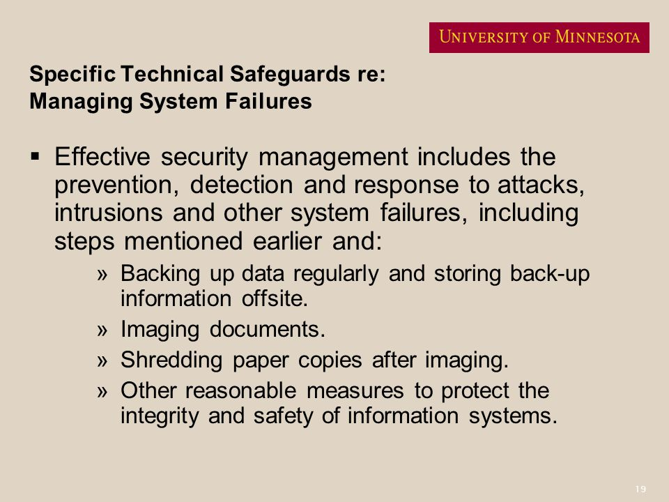 Specific Technical Safeguards re: Managing System Failures