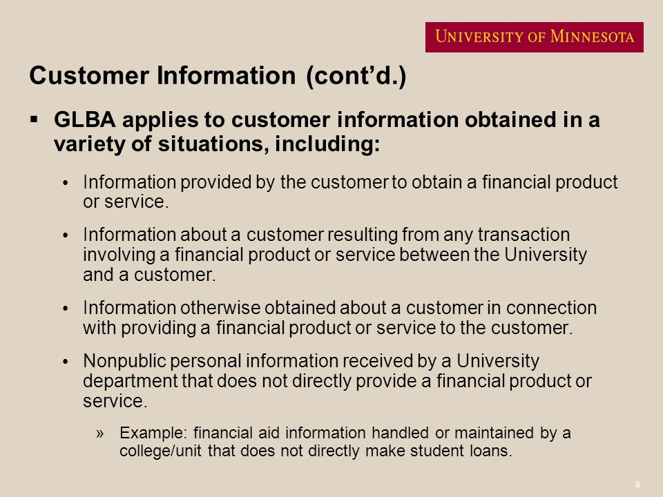 Customer Information (cont'd.)