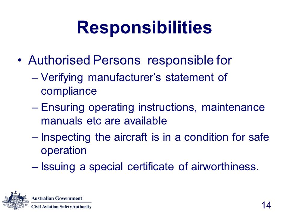 Responsibilities Authorised Persons responsible for