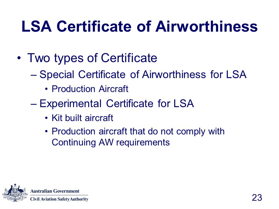 LSA Certificate of Airworthiness