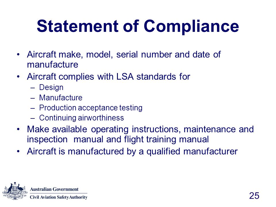 Statement of Compliance