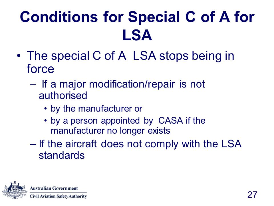 Conditions for Special C of A for LSA