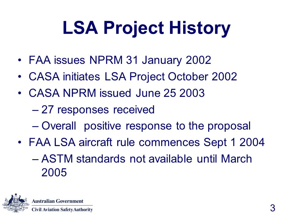 LSA Project History FAA issues NPRM 31 January 2002