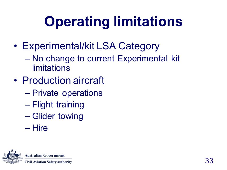 Operating limitations