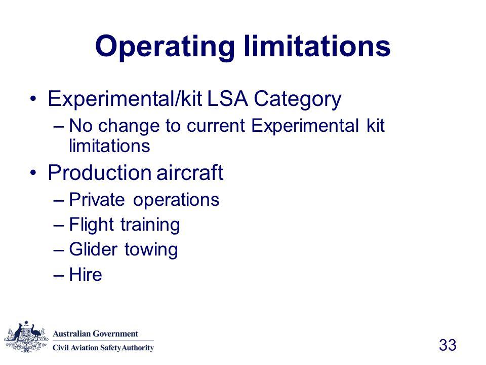 Operating limitations