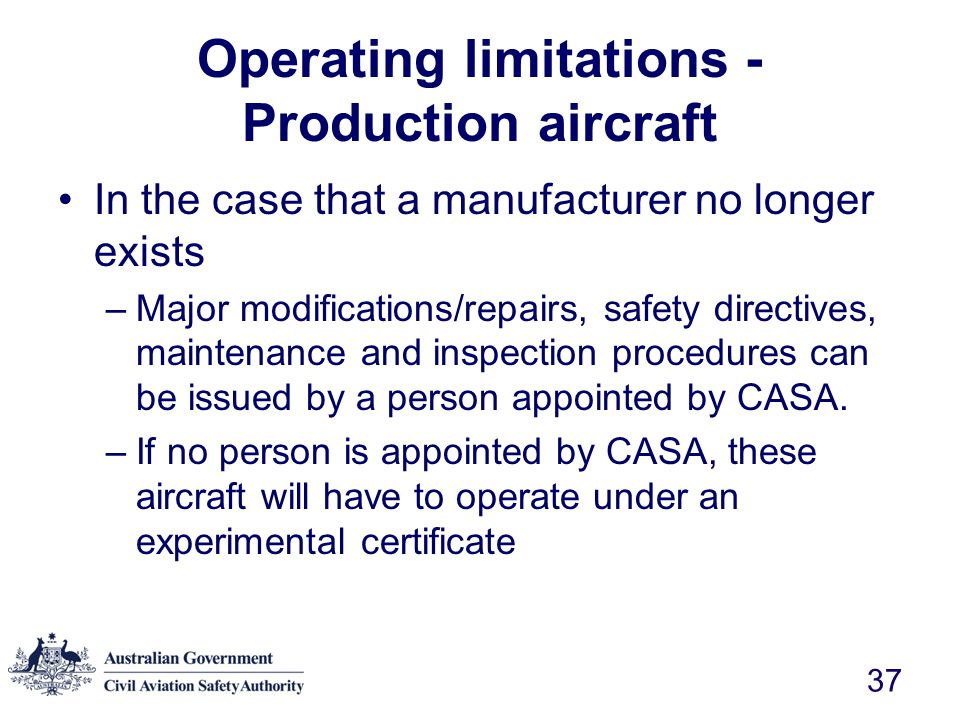 Operating limitations - Production aircraft