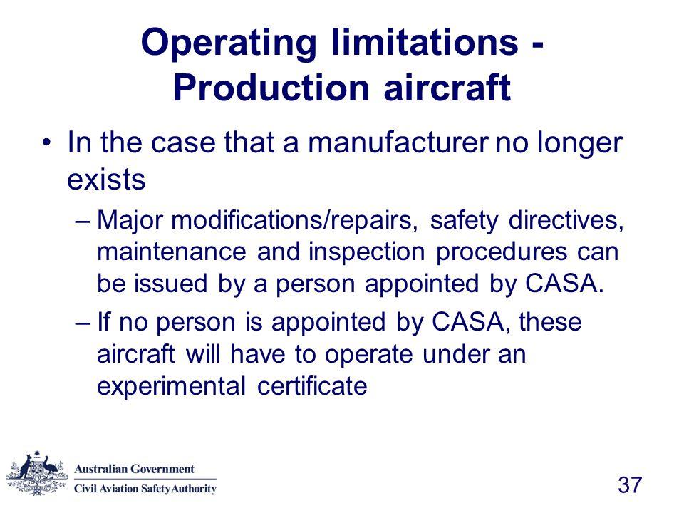 Operating limitations - Production aircraft