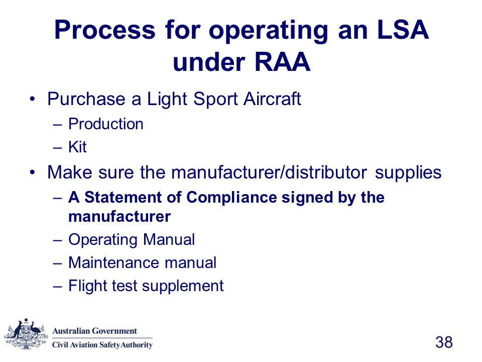 Process for operating an LSA under RAA