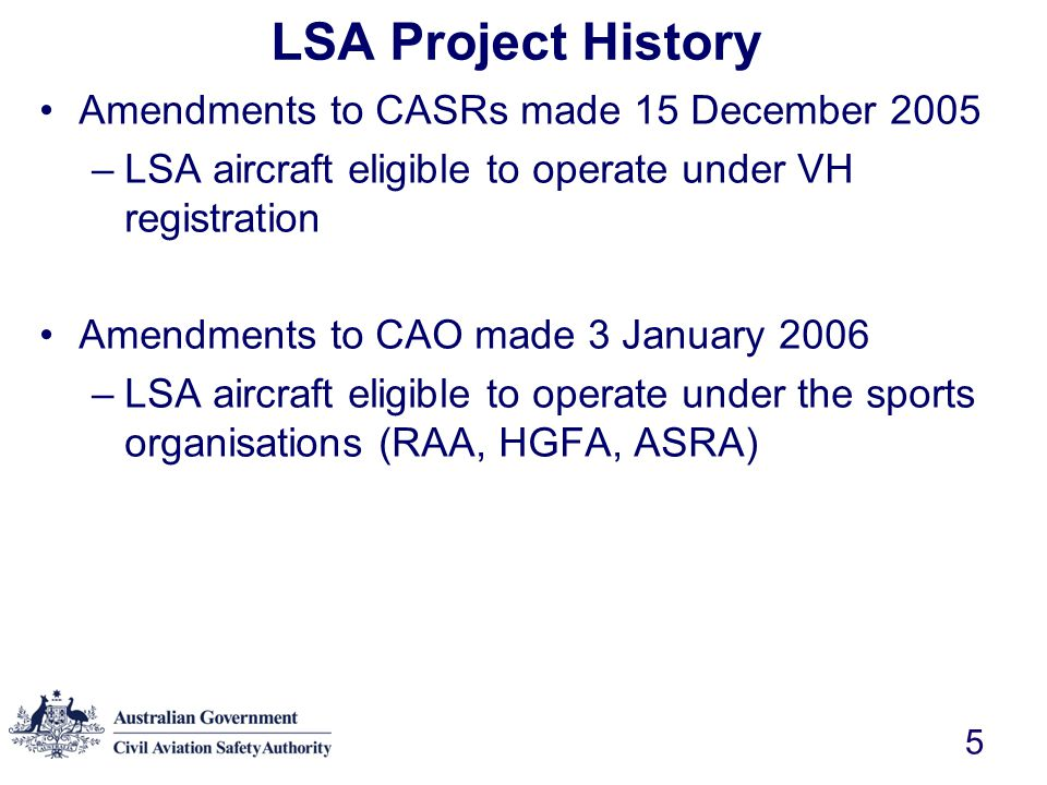 LSA Project History Amendments to CASRs made 15 December 2005
