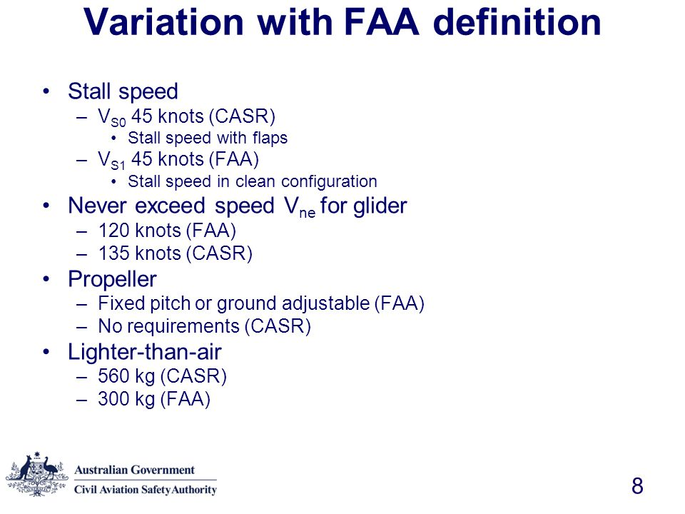 Variation with FAA definition
