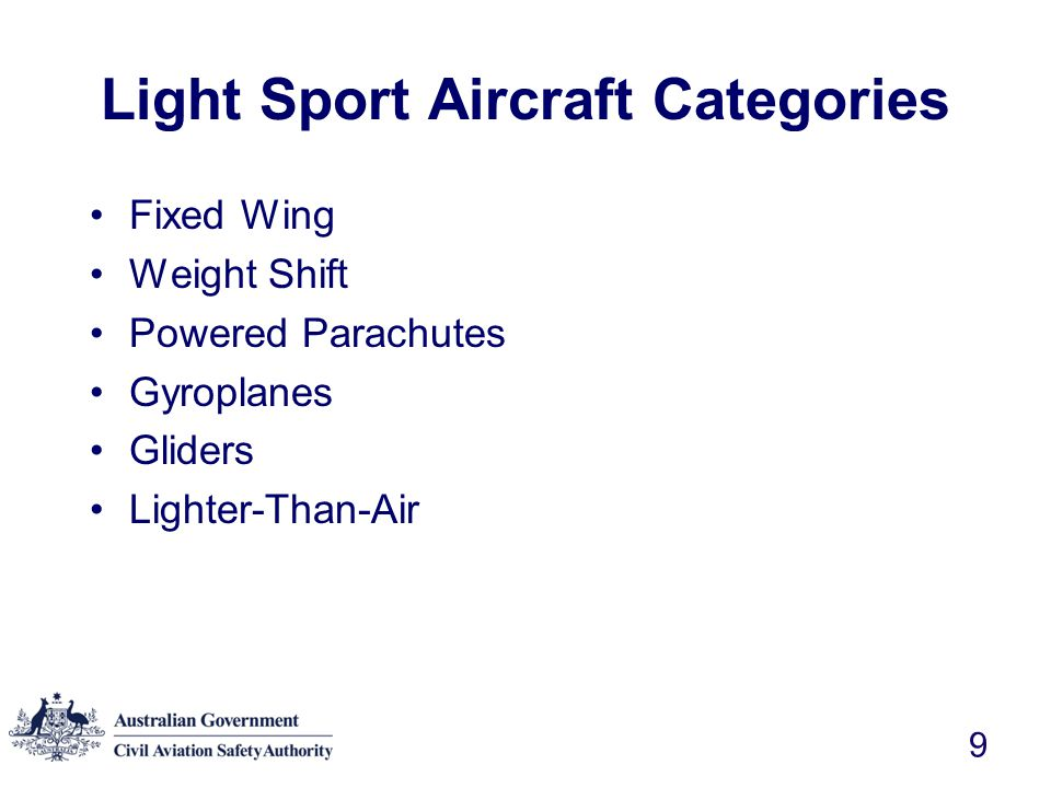 Light Sport Aircraft Categories