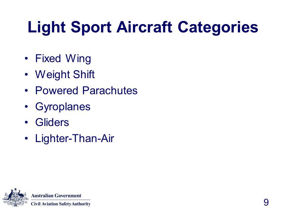 Light Sport Aircraft Categories