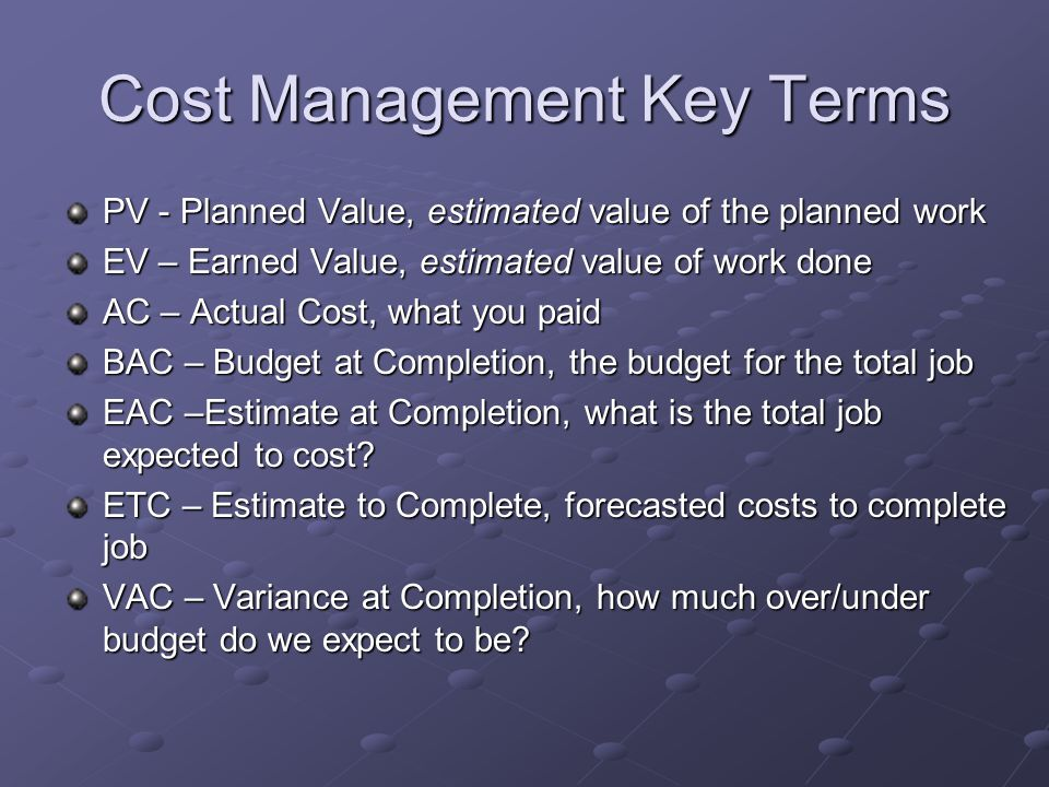Cost Management Key Terms
