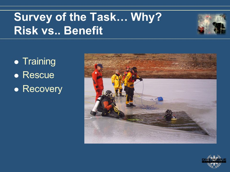 Survey of the Task… Why Risk vs.. Benefit